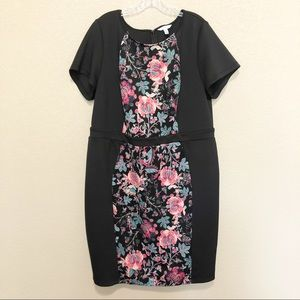 Black Floral Midi Short Sleeve Dress